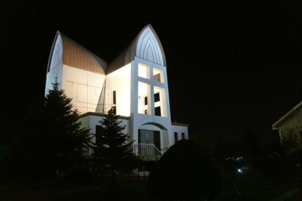 函館|函館聖ヨハネ教会の夜景