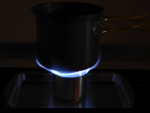 自作アルミ缶アルコールストーブ Aタイプ 燃焼時の炎 その2