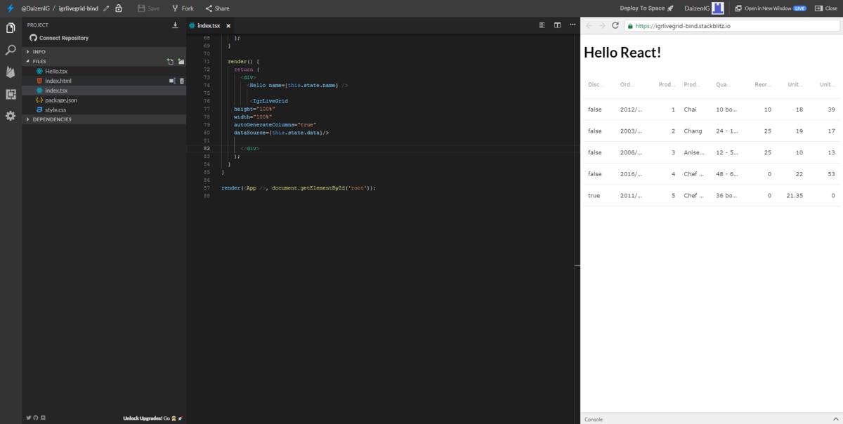 StackBlitzでIgnite UI for Reactを利用