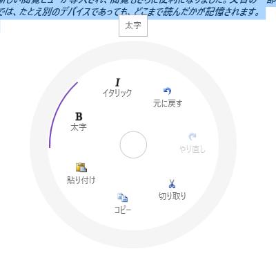 UIコントロール選択ガイド - ラジアルメニュー - ラジオボタンが有効化された状態