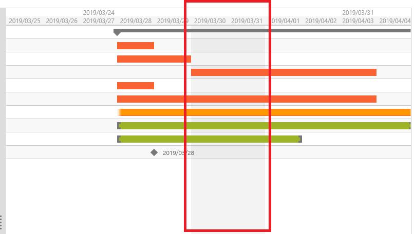 UIコントロール選択ガイド - ガントチャート - 稼働日の設定