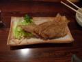 夕食・カワハギの骨せんべい
