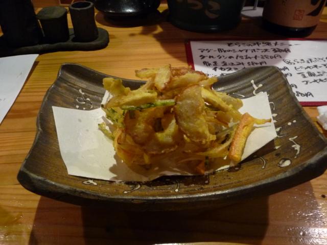 夕食 出雲野焼きの天ぷら