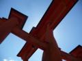 大鳥居を下から眺めたの図