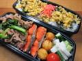 4/17_豚と小松菜の炒め物、胡瓜と長いもの胡麻油和え他