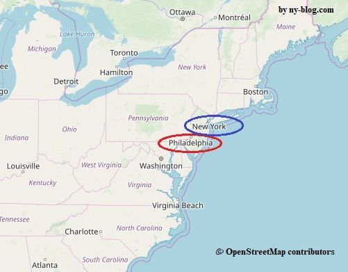 アメリカ東海岸の地図