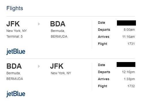 ジェットブルー航空でNYからバミューダへ
