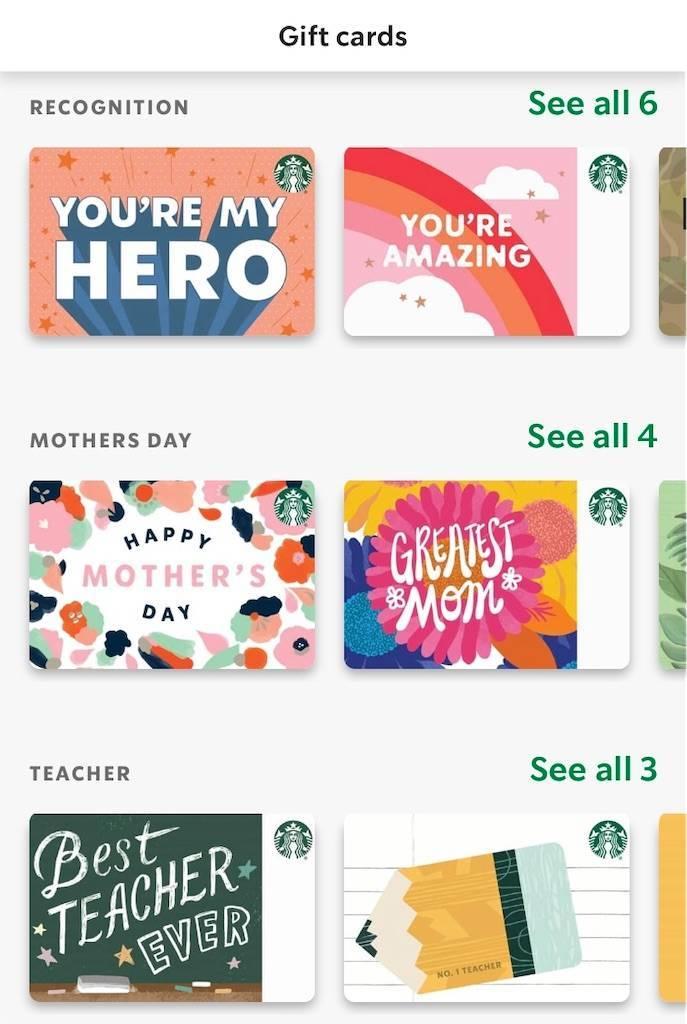 アメリカ版スタバアプリのギフトカード購入画面