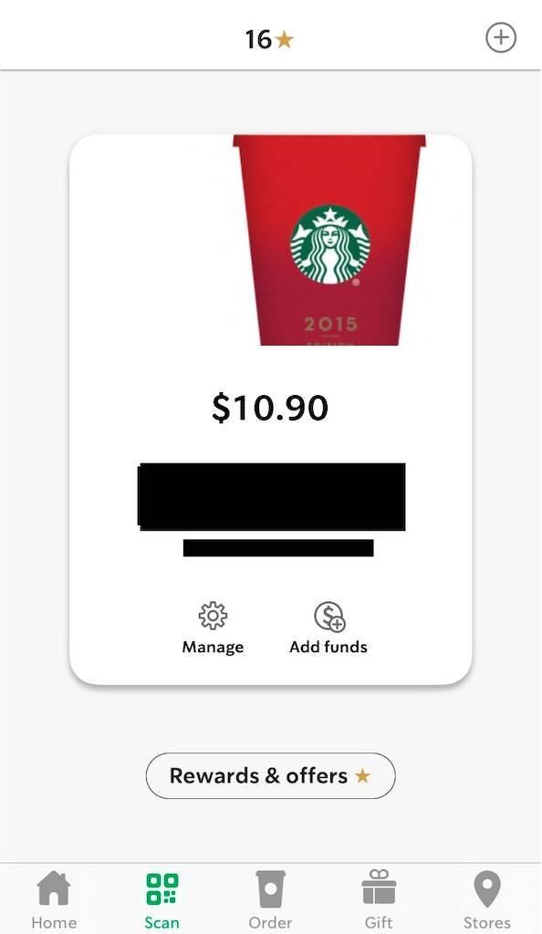 アメリカ版スタバアプリのScan画面