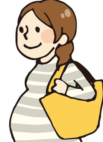お買いもの中の妊婦さん