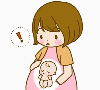 切迫早産の危険性もある体調変化に気づく妊婦さんのイメージイラスト