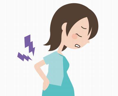 腰痛に悩まされる妊婦さんのイメージイラスト