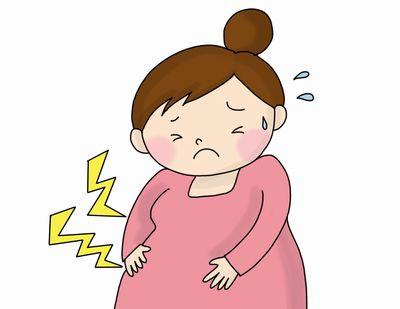 下痢と便秘の症状に悩まされる妊婦のイメージイラスト