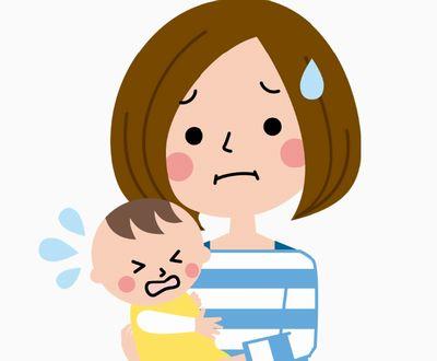 育児に苦労するママと泣きやまない赤ちゃん