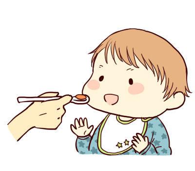 赤ちゃんにご飯を食べさせる