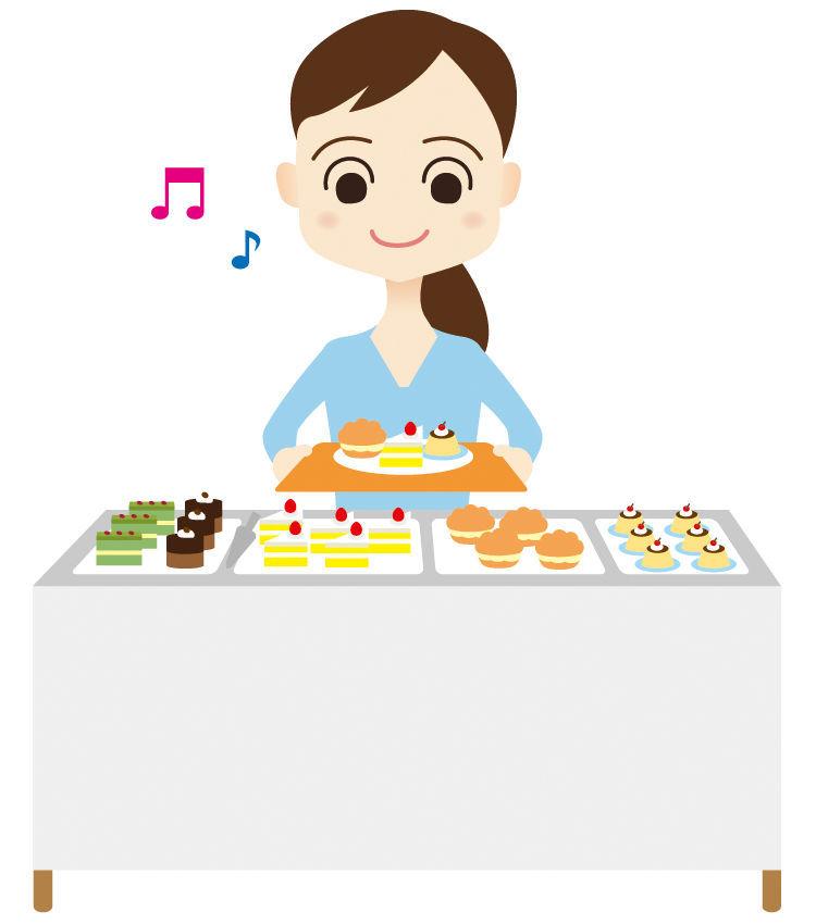 食べ放題で食べ物を選ぶ
