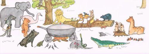 料理の匂いに誘われた森の仲間たち