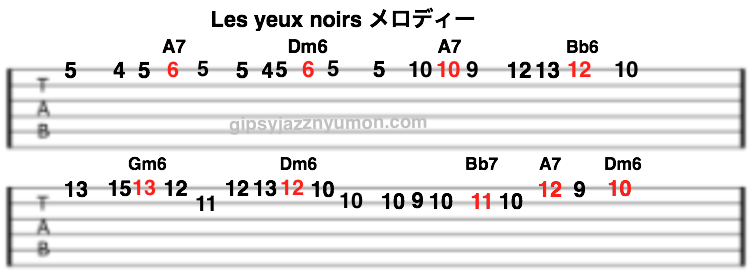 les yeux noirs sheet music/ダークアイズ のtab
