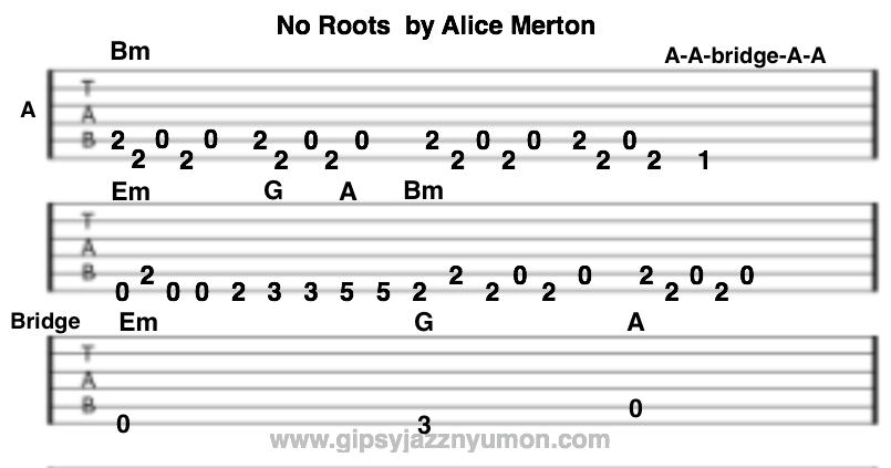 no rootsのタブ譜