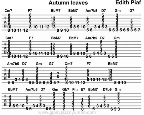 枯葉・エディットピアフのアドリブのタブ譜