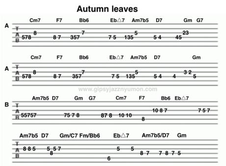 オータムリーブスのメロディータブ譜