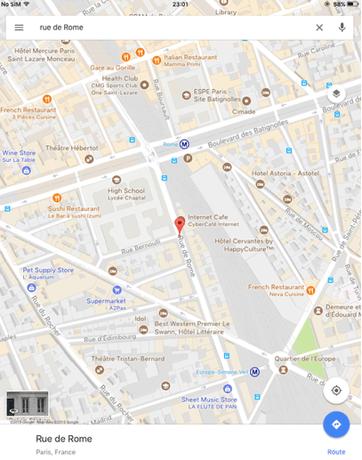 パリのローマストリートのギターショップ地図