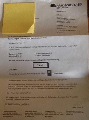 ドイツの配偶者ビザとワークパーミット取得の書類