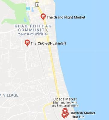 ホアヒンのシカダマーケットの地図