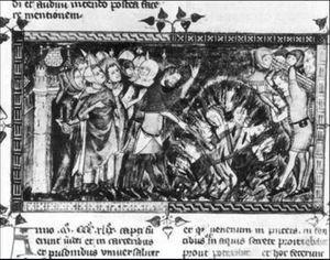 ペストが流行したときに、処刑されるユダヤ人の写真
