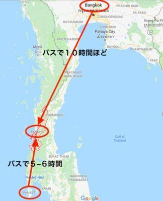 タイ、ラノーンの地図