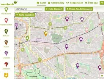 どこの公園や広場でフルーツを取れるかの地図