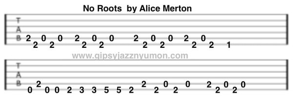 no roots アリス・マートン タブ譜