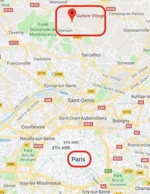 パリのギターショップ、ギタービレッジの場所