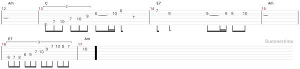 ジャズ・summertimeのアドリブソロのギターtab