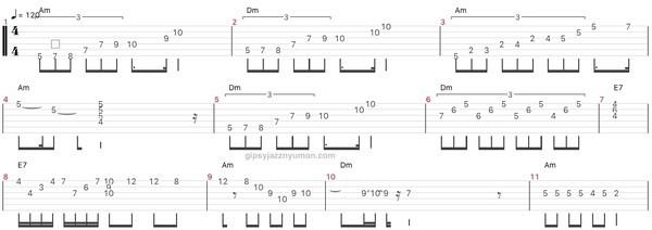 ジャズ・summertimeのアドリブソロのギタータブ譜