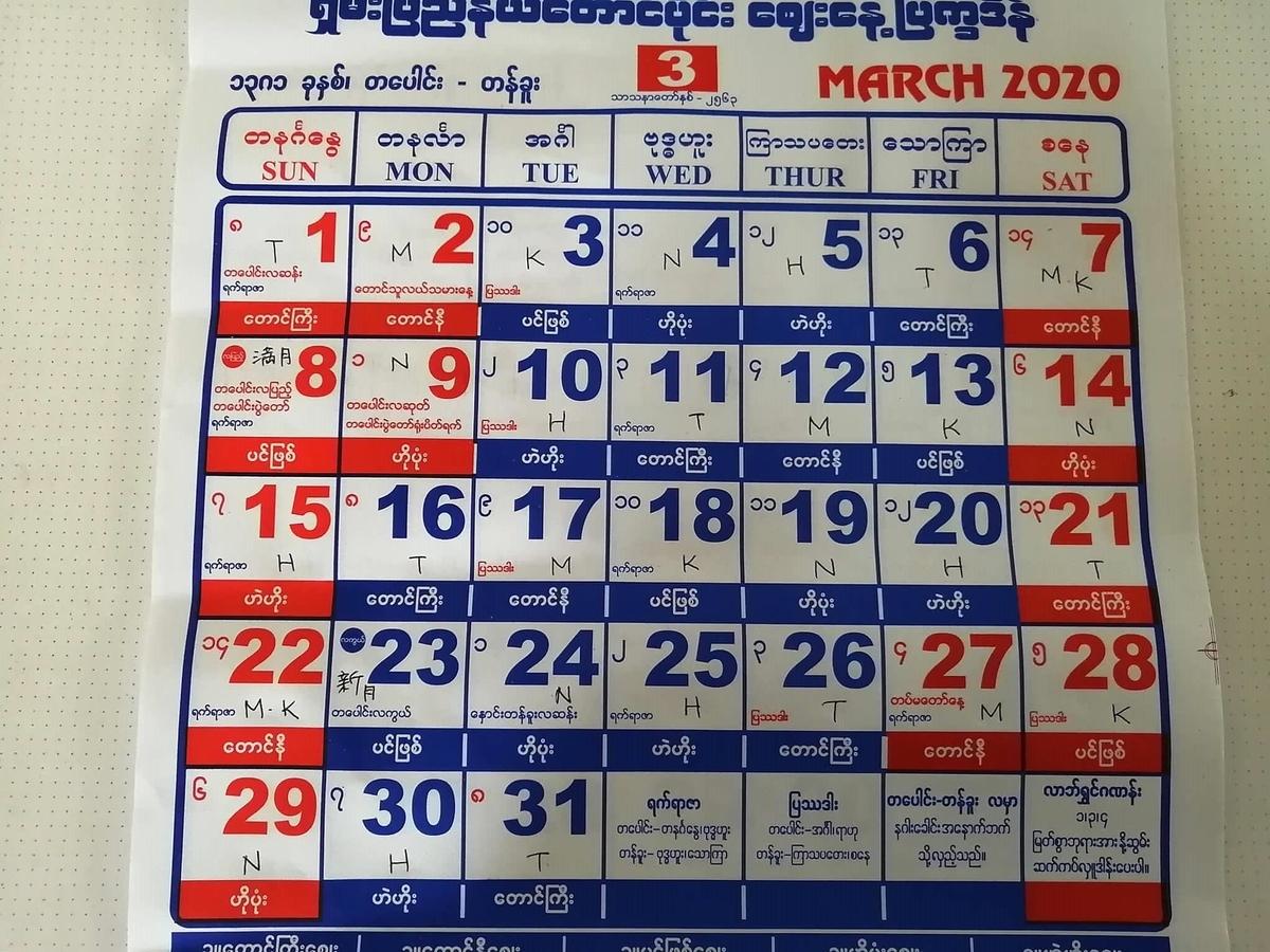 ミャンマー2020年3月