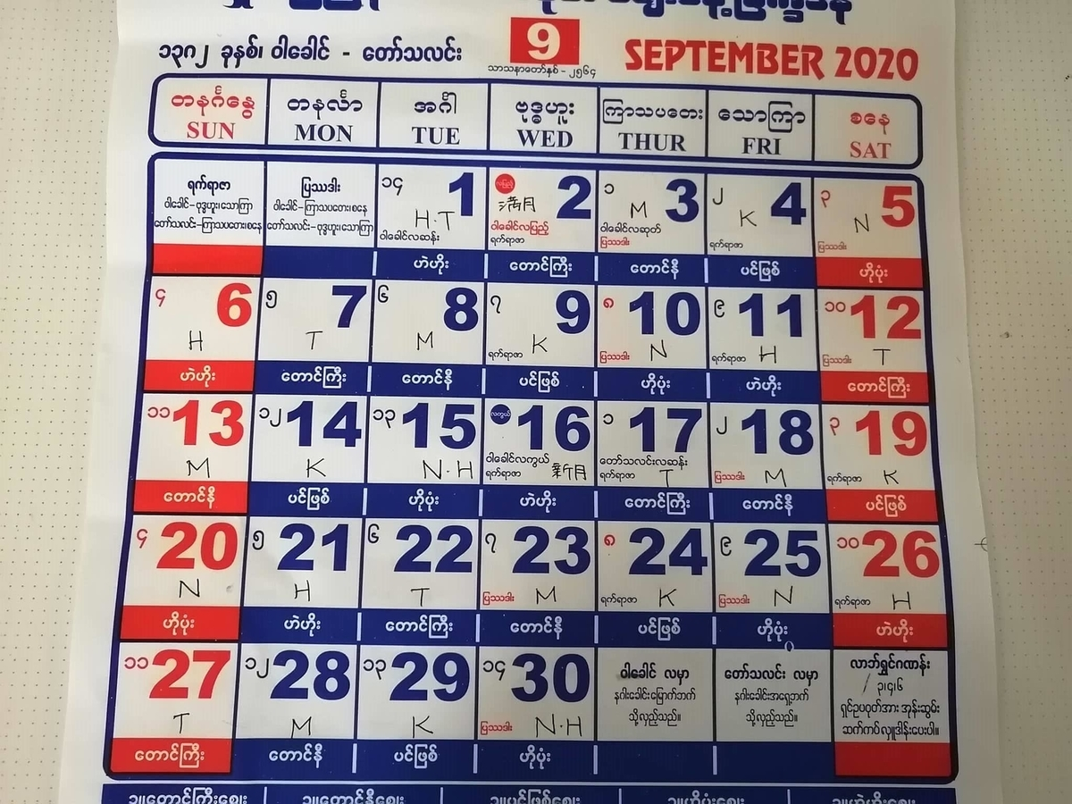 ミャンマー2020年9月