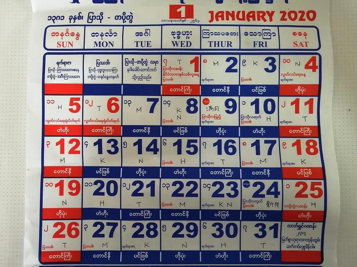 ミャンマー2020年1月