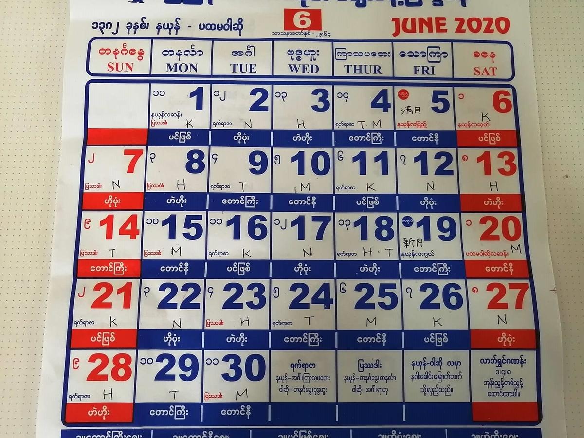 ミャンマー2020年6月