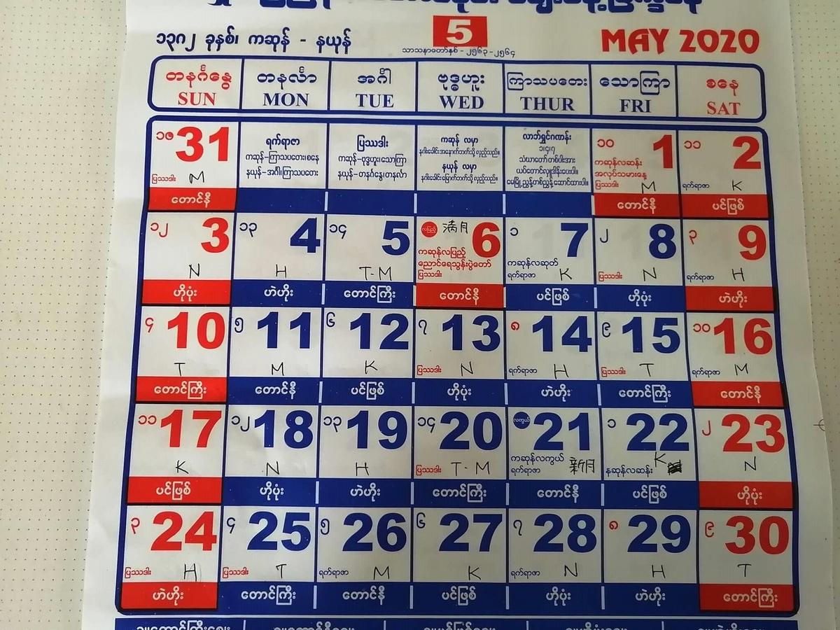 ミャンマー2020年5月