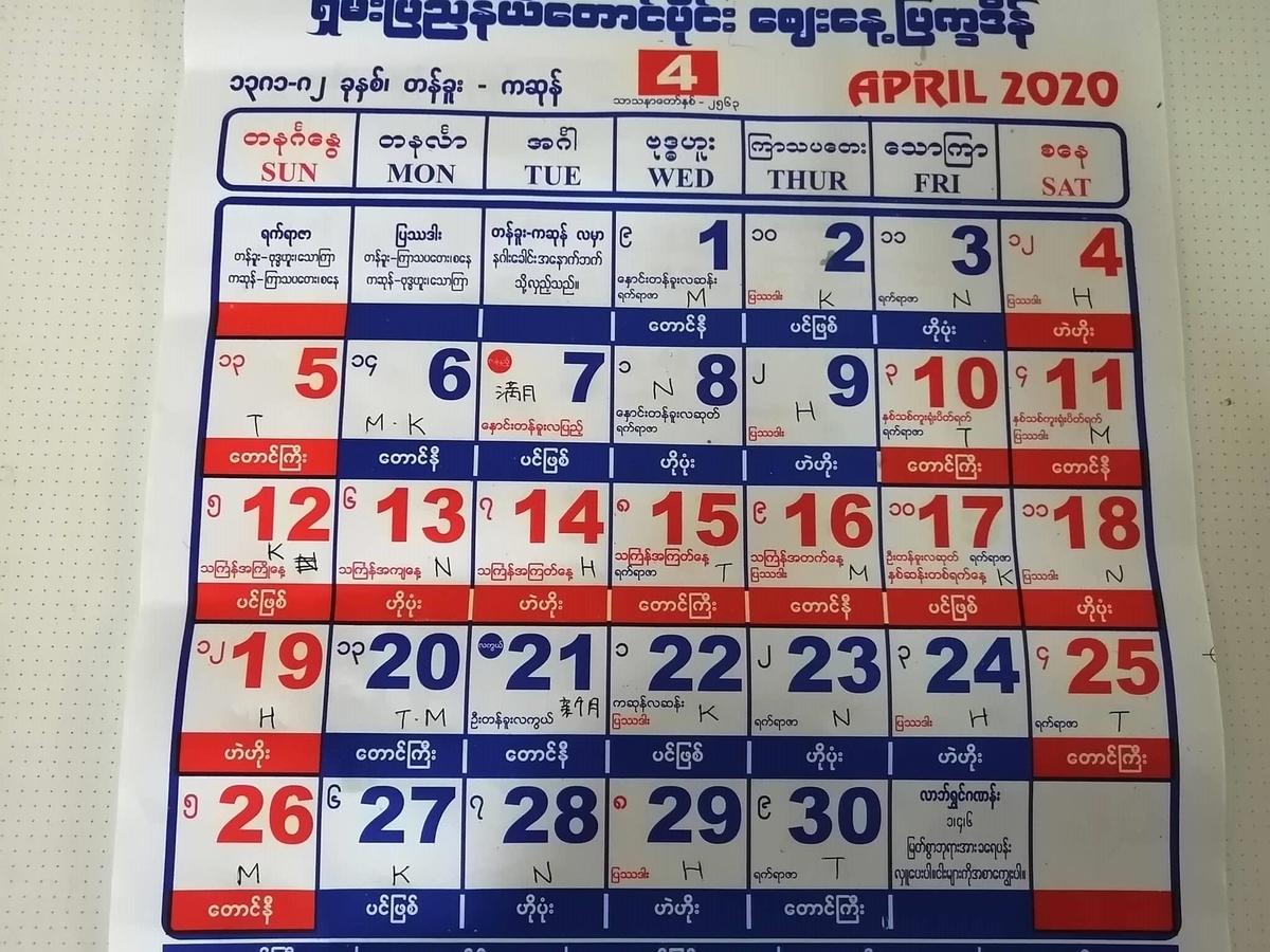 ミャンマー2020年4月
