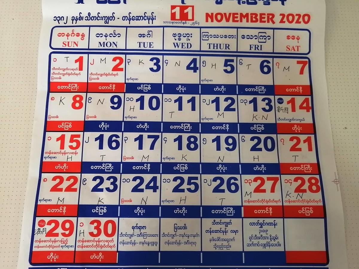 ミャンマー2020年11月