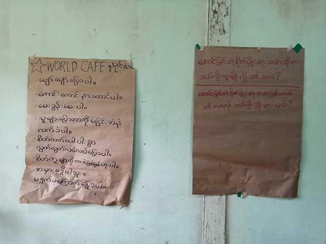 ミャンマー語が書いてある模造紙が壁に貼られている