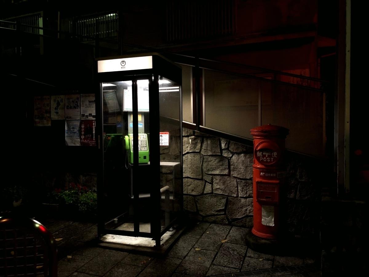 夜の電話ボックスのイメージ