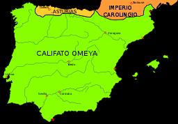 750年頃のイベリア半島の勢力図