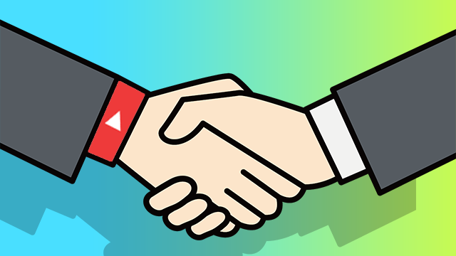 YouTubeの動画編集を代行する人と編集者の握手