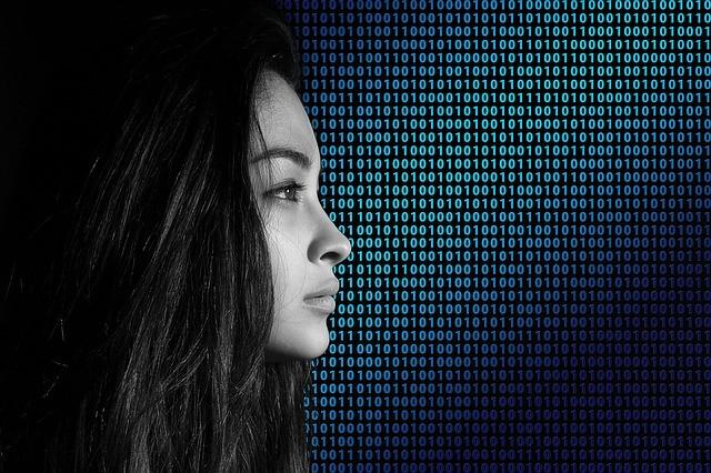 遠く 見つめる 女性 デジタル バイナリ セキュリティ