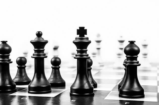 チェスの白黒写真