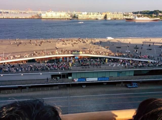 ダイヤモンド・プリンセスから見た大桟橋