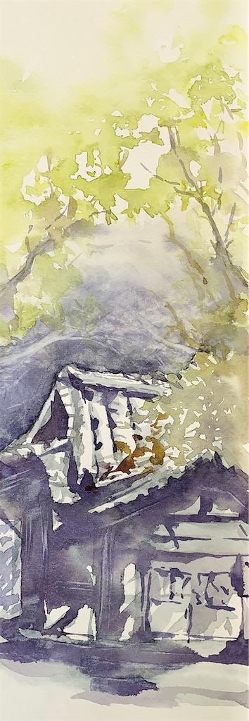 東大阪の枚岡神社にて風景を水彩でスケッチ